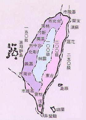 台灣區風力分級區圖